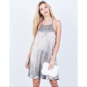 Lush metallic micro pleated party dress s